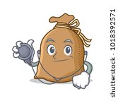 doctor sack character cartoon... | Shutterstock .eps vector #1018392571