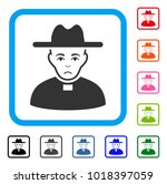 sad catholic priest vector icon.... | Shutterstock .eps vector #1018397059