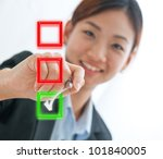 Businesswoman choosing mark the check box isolate on white background - stock photo