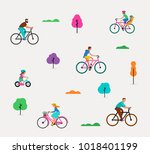 people riding on bicycles in... | Shutterstock .eps vector #1018401199