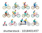people riding on bicycles in... | Shutterstock .eps vector #1018401457