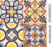 detail of the traditional tiles ... | Shutterstock . vector #1018402021