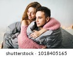 happy cute girl in love at home ... | Shutterstock . vector #1018405165