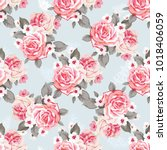 seamless floral pattern with... | Shutterstock .eps vector #1018406059