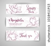 floral baners. hand drawn... | Shutterstock .eps vector #1018411915