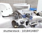 plumber tools and equipment in... | Shutterstock . vector #1018414807