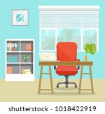 office workplace with retro... | Shutterstock .eps vector #1018422919