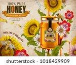wildflower honey ads  delicious ... | Shutterstock .eps vector #1018429909