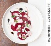 beetroot feta salad fine dining ... | Shutterstock . vector #1018432144