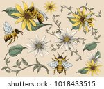 Honey Bees And Flowers Element...