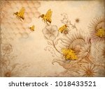 honey bees and wildflowers ... | Shutterstock .eps vector #1018433521