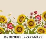 decorative flowers design ... | Shutterstock .eps vector #1018433539