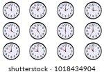 set of round clocks showing... | Shutterstock .eps vector #1018434904