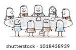 cartoon business teamwork... | Shutterstock .eps vector #1018438939