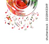 colorful music poster with... | Shutterstock .eps vector #1018443349