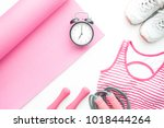top view of yoga fitness items... | Shutterstock . vector #1018444264