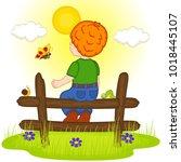 redhead boy looks at sunset  ... | Shutterstock .eps vector #1018445107
