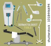 dermatologist equipment set.... | Shutterstock .eps vector #1018446694