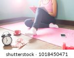 healthy woman in sport and... | Shutterstock . vector #1018450471