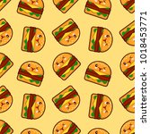 burger  seamless pattern with... | Shutterstock . vector #1018453771