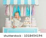 beautiful baby girl sitting... | Shutterstock . vector #1018454194