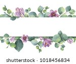 watercolor hand painted banner... | Shutterstock . vector #1018456834