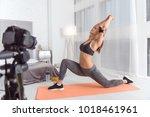 feeling vigorous. nice cheerful ... | Shutterstock . vector #1018461961