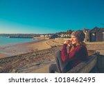 handsome girl tourist in... | Shutterstock . vector #1018462495