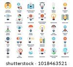 vector set of light bulbs flat... | Shutterstock .eps vector #1018463521
