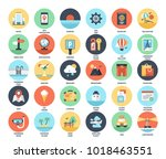 vector set of travel and... | Shutterstock .eps vector #1018463551