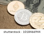 cryptocurrency silver and gold... | Shutterstock . vector #1018466944