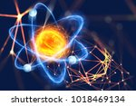 atomic structure. futuristic... | Shutterstock . vector #1018469134