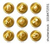 set of realistic 3d golden... | Shutterstock .eps vector #1018472551