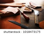 leather craft or leather... | Shutterstock . vector #1018473175