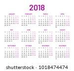 simple wall calendar 2018 year  ... | Shutterstock .eps vector #1018474474