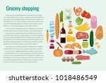 grocery set. vector... | Shutterstock .eps vector #1018486549