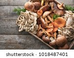wicker tray with variety of raw ... | Shutterstock . vector #1018487401