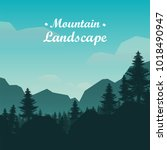 mountain landscape with trees ... | Shutterstock .eps vector #1018490947