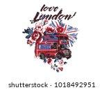 watercolor london bus  flag ... | Shutterstock .eps vector #1018492951
