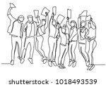 continuous drawing of a line of ... | Shutterstock .eps vector #1018493539