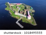 aerial view on fortress oreshek ...   Shutterstock . vector #1018495555