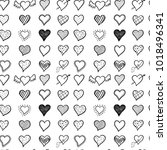 hand drawn hearts seamless | Shutterstock .eps vector #1018496341