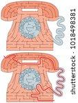 easy telephone maze for younger ... | Shutterstock .eps vector #1018498381