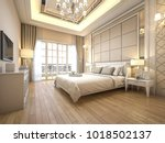 Stock photo  d rendering modern luxury classic bedroom with marble decor 1018502137