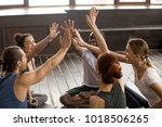 mindful happy sporty diverse... | Shutterstock . vector #1018506265