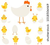 chickens with hen | Shutterstock .eps vector #1018506469