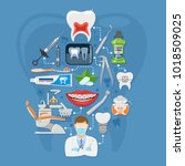 dental services infographics... | Shutterstock .eps vector #1018509025