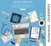 doctors workplace and medical... | Shutterstock .eps vector #1018509031