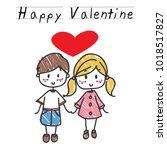 two lovely children holding... | Shutterstock .eps vector #1018517827