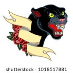 portrait of a grinning panther... | Shutterstock .eps vector #1018517881